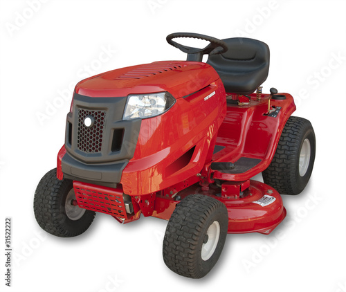 Red sitting lawn tractor on white, isolated