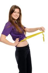 Women measures a waist,