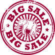 Stamp with the elephant and words Big Sale inside