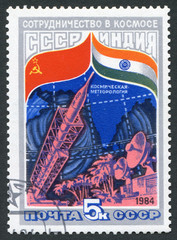 Postage stamp USSR 1984: USSR and India - cooperation in space