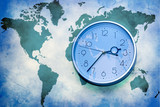 Abstract business background. world map with wall clock