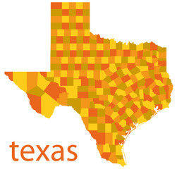 vector map of texas state, usa