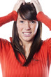 visage de femme accablée stressée