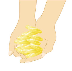 Hands with golden coins. Vector illustration