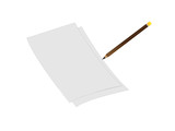 3d  white sheet of paper with pencil