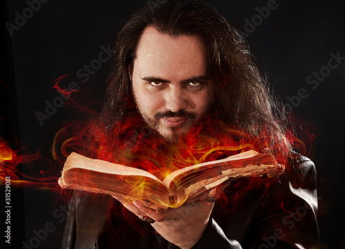 The man with burning book