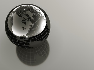 3d glossy earth on reflective background