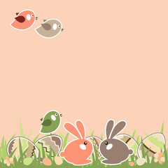 Easter landscape with rabbits and birds. Grass is seamless.