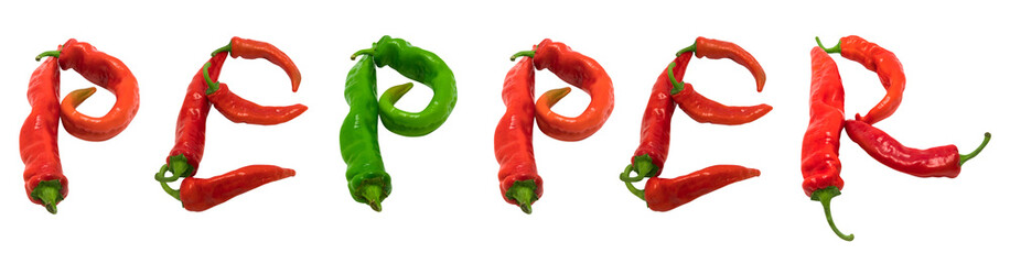 PEPPER text composed of chili peppers