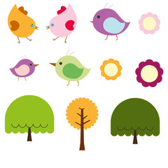 Cute birds and trees