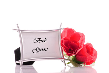 Bride and Groom Wedding Table Number With Red Rose