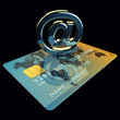 Credit card and arobase sign on black background,3d illustration
