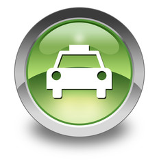 """Green Glossy Pictogram """"Taxi Cab"""""""