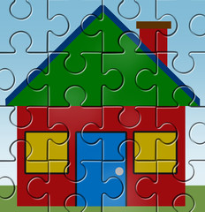 House mortgage symbol represented by a home and jigsaw puzzle