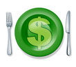 business food fork plate knife isolated money profits cuisine