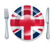 English British food fork plate knife isolated England cuisine