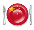 Chinese food fork plate knife isolated China flag cuisine