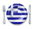 Greek food fork plate knife isolated Greece flag cuisine