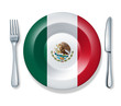 Mexican food fork plate knife isolated Mexico flag cuisine
