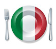 italian food fork plate knife isolated Italy flag cuisine