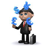 3d Banker juggles currencies poster