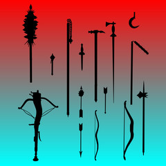 bow and arrows and maces vector
