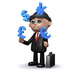 3d Banker juggles currencies