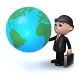 3d Banker studies the globe poster