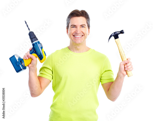 Man with hammer and drill.