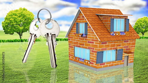 House with keys on grass