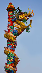 a dragon climbs a pole very high