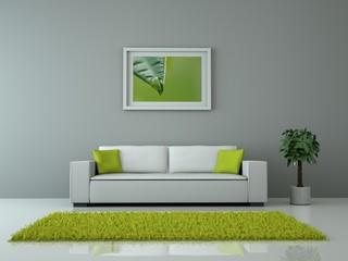 Innendesign -Sofa grün weiss
