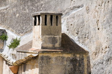 Stone chimney.