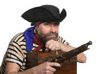 Pirate with a musket holding a chest
