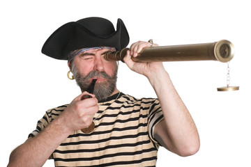 Pirate looks a telescope