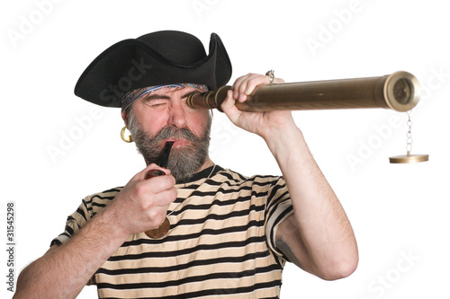 Pirate looks a telescope