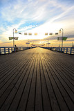 Sunrise at the pier in Sopot, Poland.