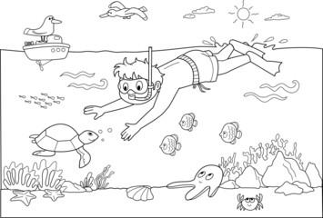 Bambino che nuota sotto acqua con i pesci.