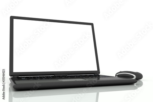 Isolated laptop with mouse