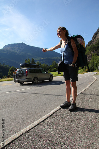 Female hitchhiker in Norway