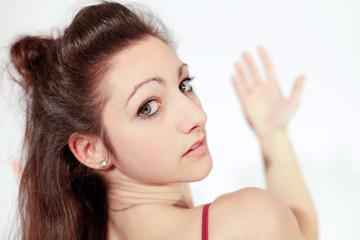 Young brunette teenager girlfacing