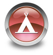 """Red Glossy Pictogram """"Camping Symbol"""""""