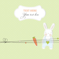 Card with stickers of rabbit and carrot