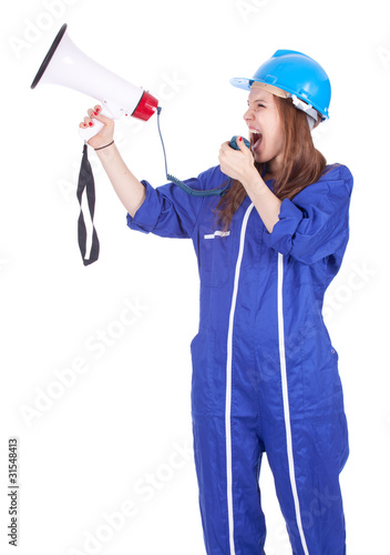 screaming woman in hardhat and coveralls with megaphone.