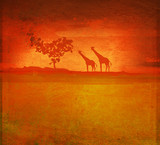 background with African fauna and flora poster