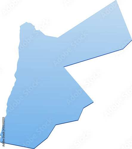 Blue map of Jordan