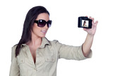 Sexy girl with sunglasses making a picture