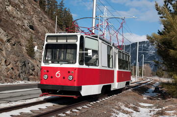 Tramway line for working staff of Sayano–Shushenskaya dam