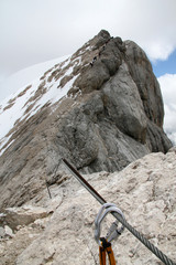 Climbing in Dolomites, Italy