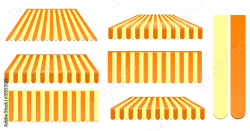 orange and yellow awnings set isolated on white